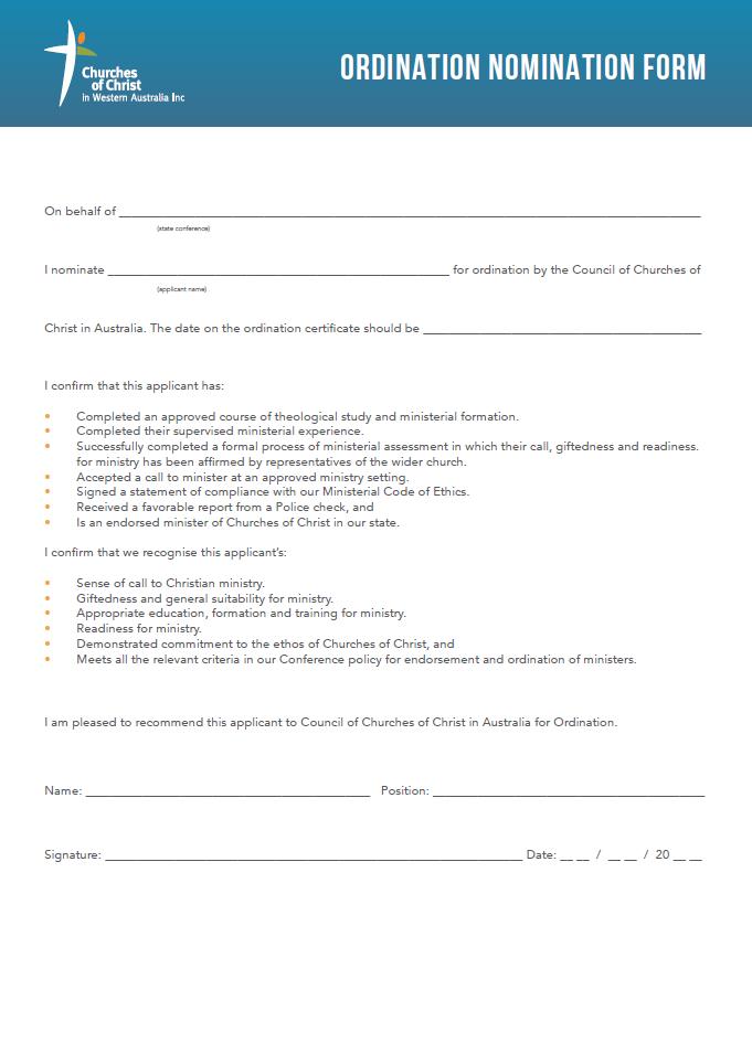 ordination-nomination-form